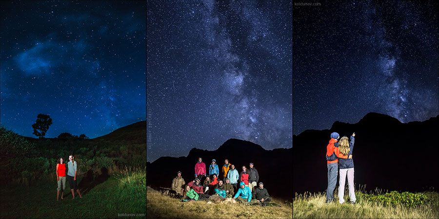 How to make night portrait on sky background with stars