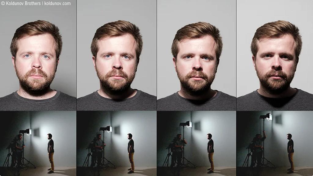 Светотеневой рисунок на лице (сверху) в зависимости от высоты источника света (снизу).