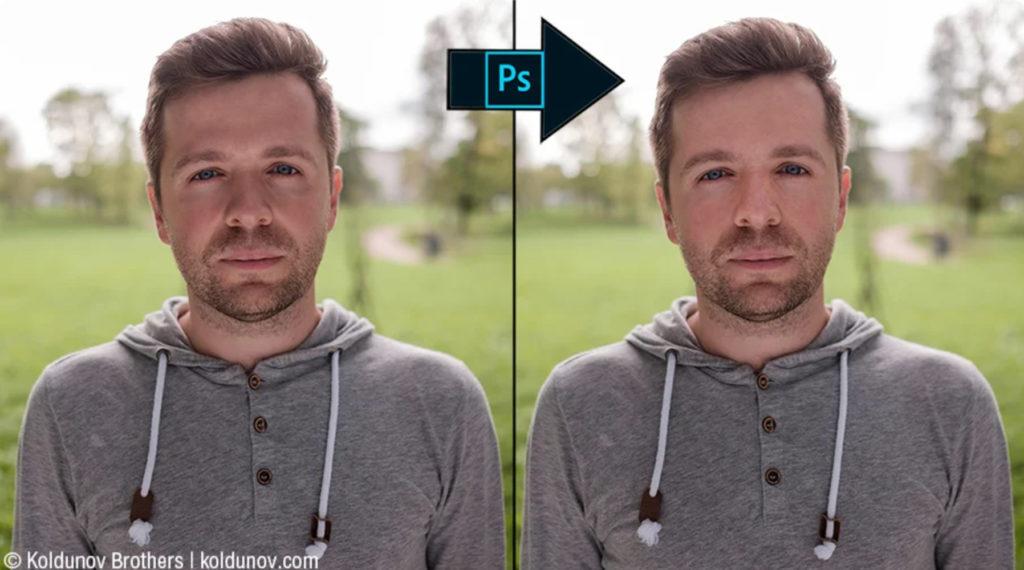 Неудачная попытка исправить при ретуши в фотошоппе последствия нижнего света