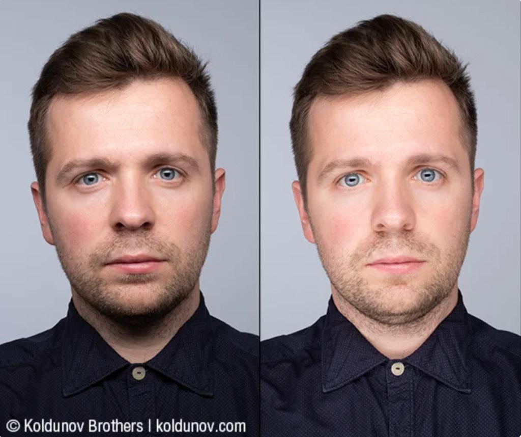 Слева: лицо освещено одним источником сверху. Справа: добавлен ещё один источник света снизу.