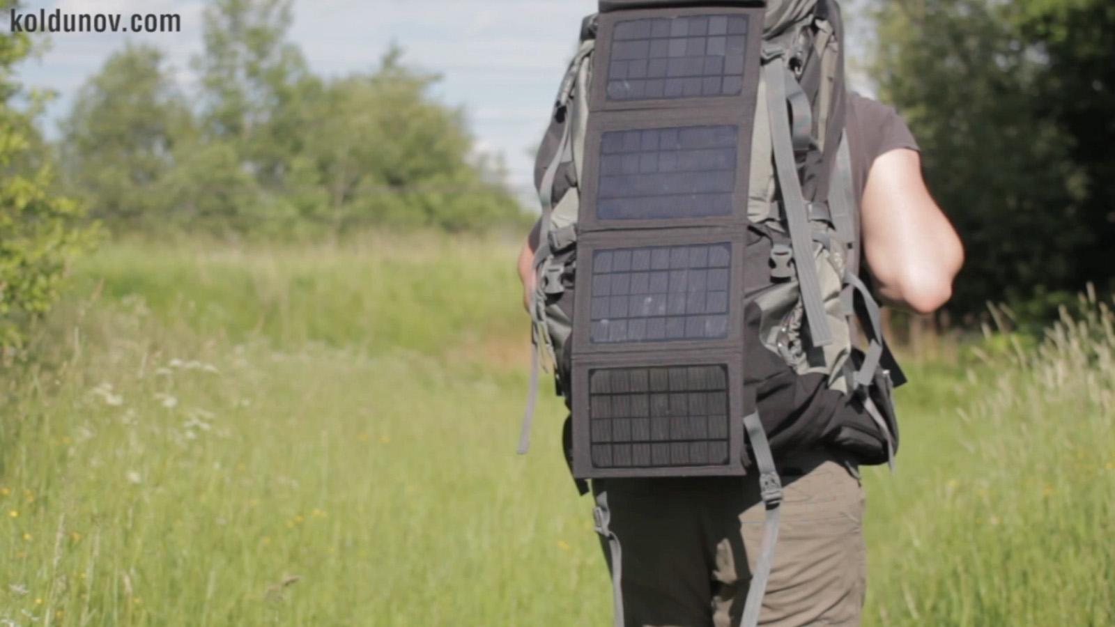 солнечная панель на рюкзаке