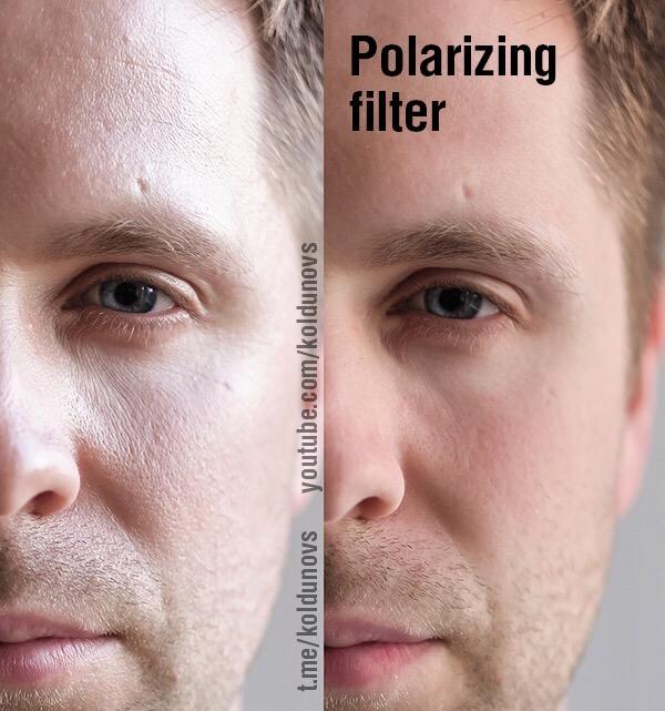 Поляризационный фильтр уменьшает морщины на лице