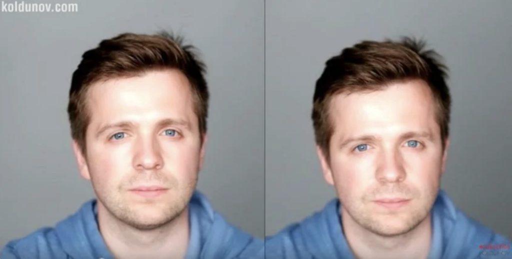 более высокая точка съёмки поможет убрать двойной подбородок при фотографировании портрета