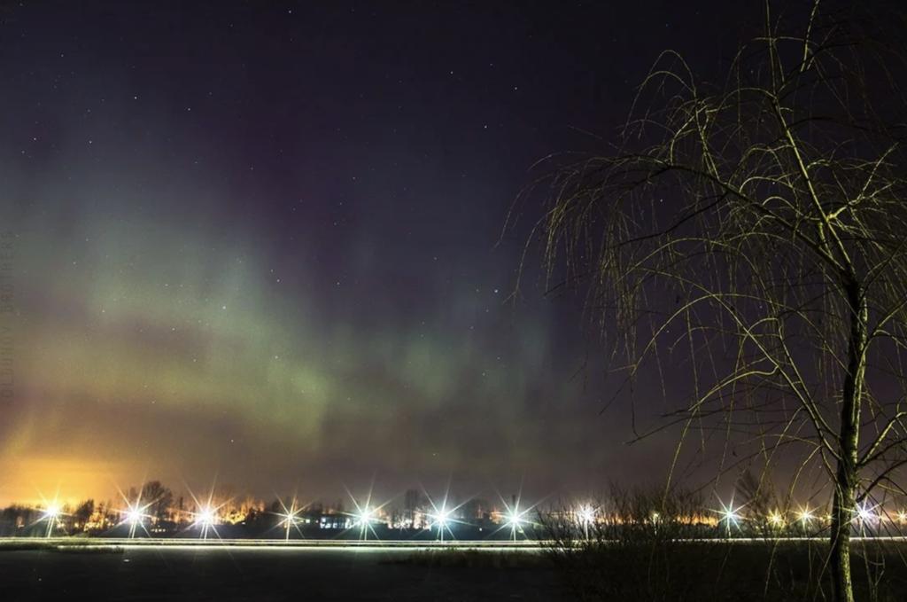 Полярное сияние 17-18 марта 2015 над Санкт-Петербургом