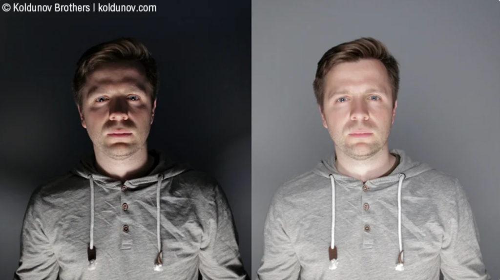 Негативные проявления нижнего освещения на лице. Слева контрастное освещение, справа контраст уменьшен с помощью заполняющего света