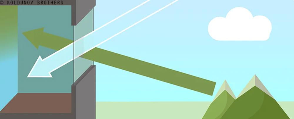 схема попадания лучей  света через окно