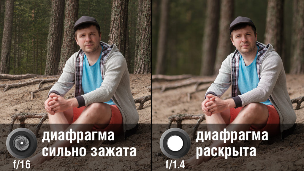 Диафрагма позволяет менять глубину резкости снимка, тем самым размывать фон в портрете или наоборот делать его резким.