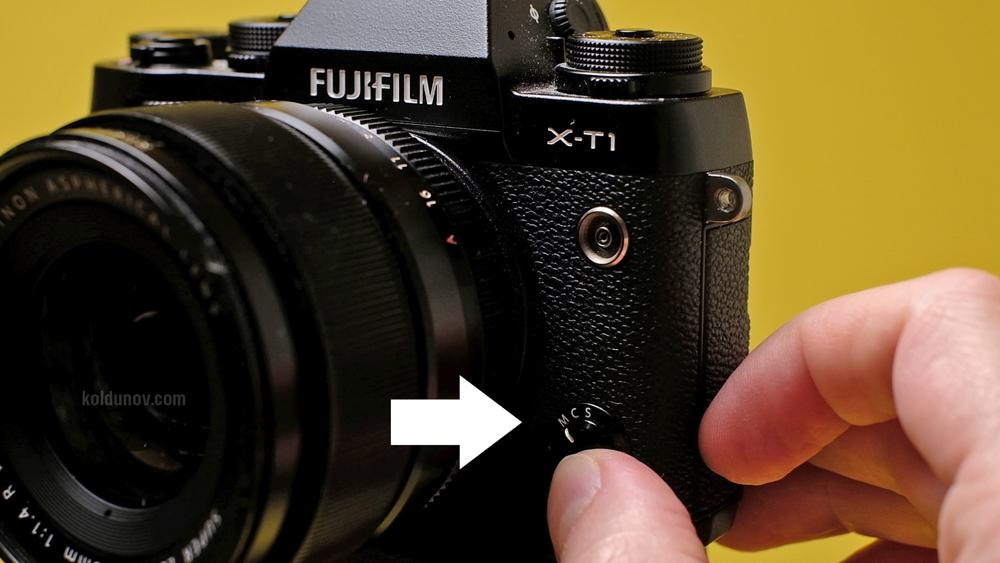 Режим ручной фокусировки. переключатель с автофокуса на ручной. Fujifilm