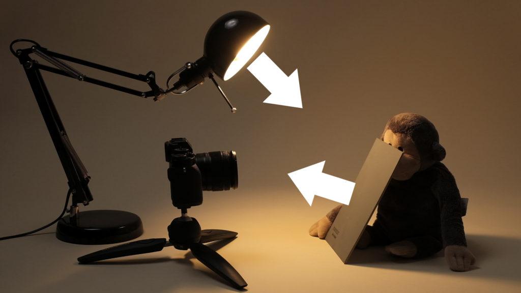 Лампа освещает серую карту, свет от которой попадает в объектив фотоаппарата.